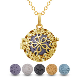 K103G 18K Gold Aromatherapy Jewelry Essential Oil Diffuser Necklace Flower Pearl Cage Volcanic Rock Lava Stone Pendant