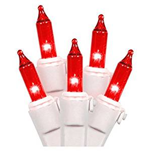 Vickerman 50 Light Mini Light Set Red Lights on White Wire by Vickerman