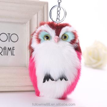 Cut Fluffy Owl Keychain Pendant Womens Key Ring Holder Faux Bunny Rabbit  Fur Pompoms Key Chains b47f72599