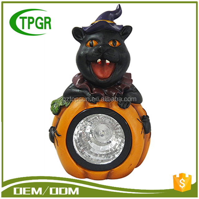 Outdoor Polyresin Black Cat Statue Halloween Party Decoration Solar Led  Light Garden Light