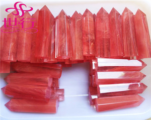 Red melting smelt quartz crystal double points polished wands healing