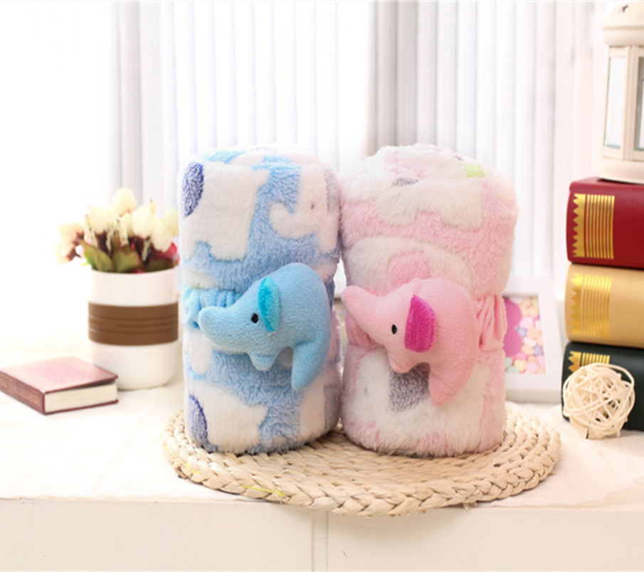 FREE SHIPPING Baby s Blankets stereo elephant Coral fleece Blankets soft Multi purpose Printing cloak blanket