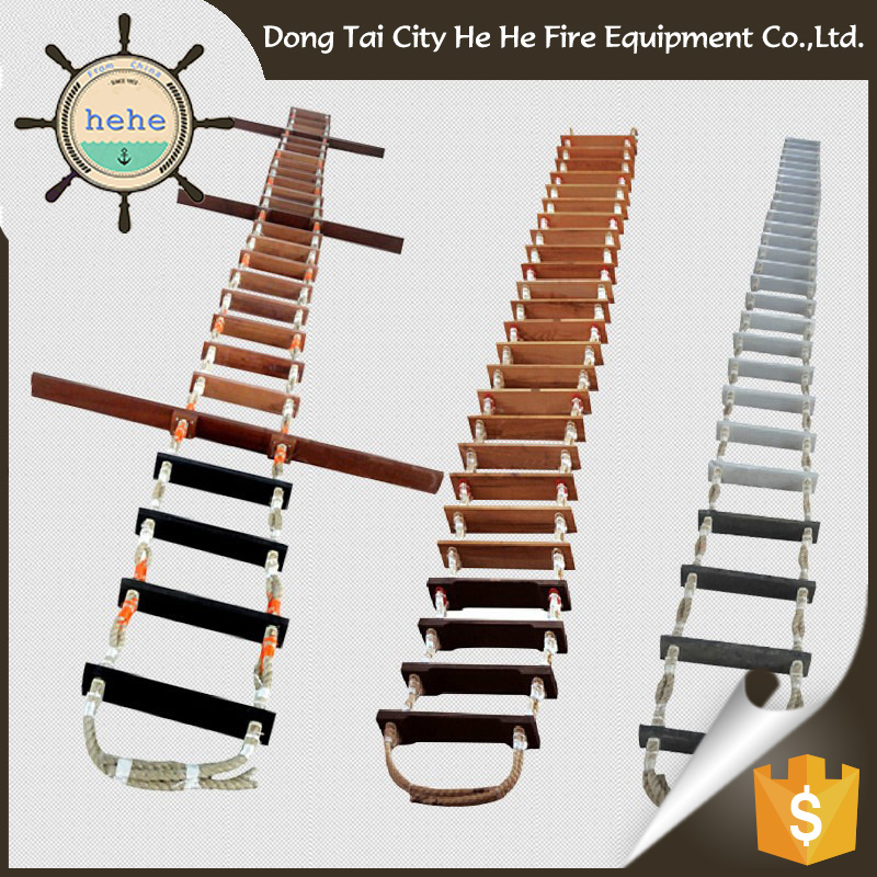 Wide Varieties China Embarkation Wooden Marine Rope Ladder