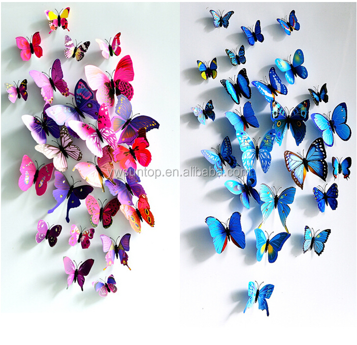 3D Butterfly pvc Wall Sticker Wedding Party Decoration Home Supplies Wholesale
