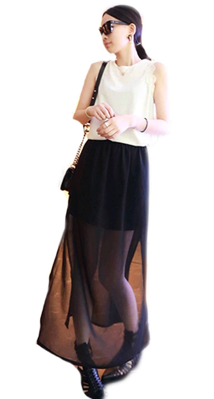 ebb731849 Get Quotations · New fashions Side slits Chiffon maxi skirt Black  Half-length skirt