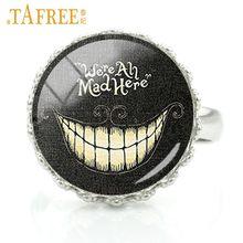 TAFREE личности кольца для девочек скелет изображения искусстве Стекло сплав железа на черном фоне для женщин Череп jewelry A632(Китай)