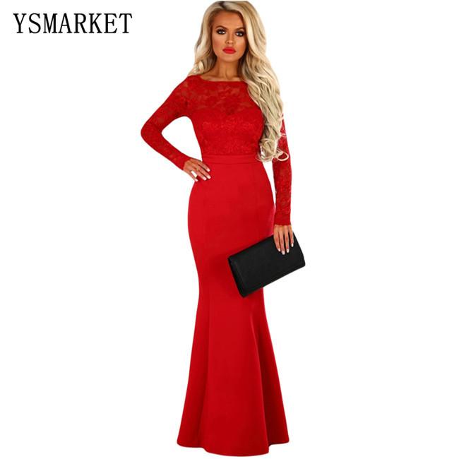 615ff419c 2018 nuevo elegante mujeres sirena vestido de noche del cordón del Vintage  de manga larga arco