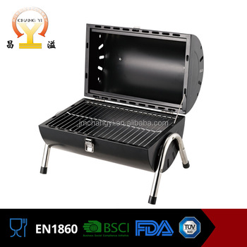 cylindrical portable stainless steel double open charcoal bbq grill - Stainless Steel Charcoal Grill