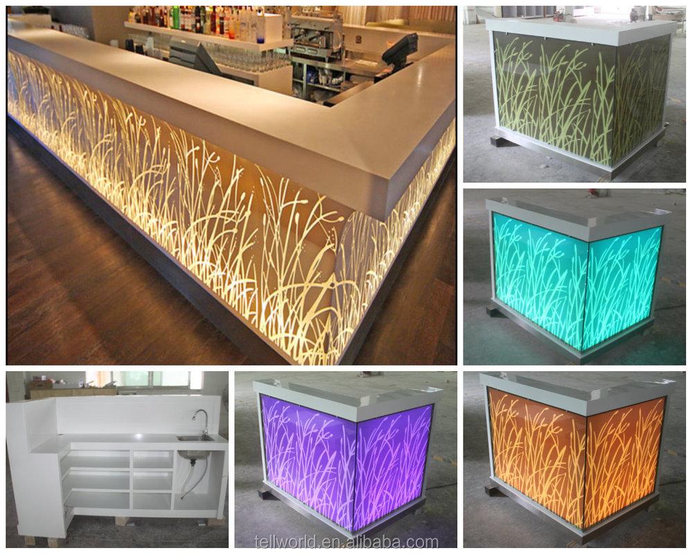 2017 Newest Design Translucent Stone Bar Counter, Led Bar Counter