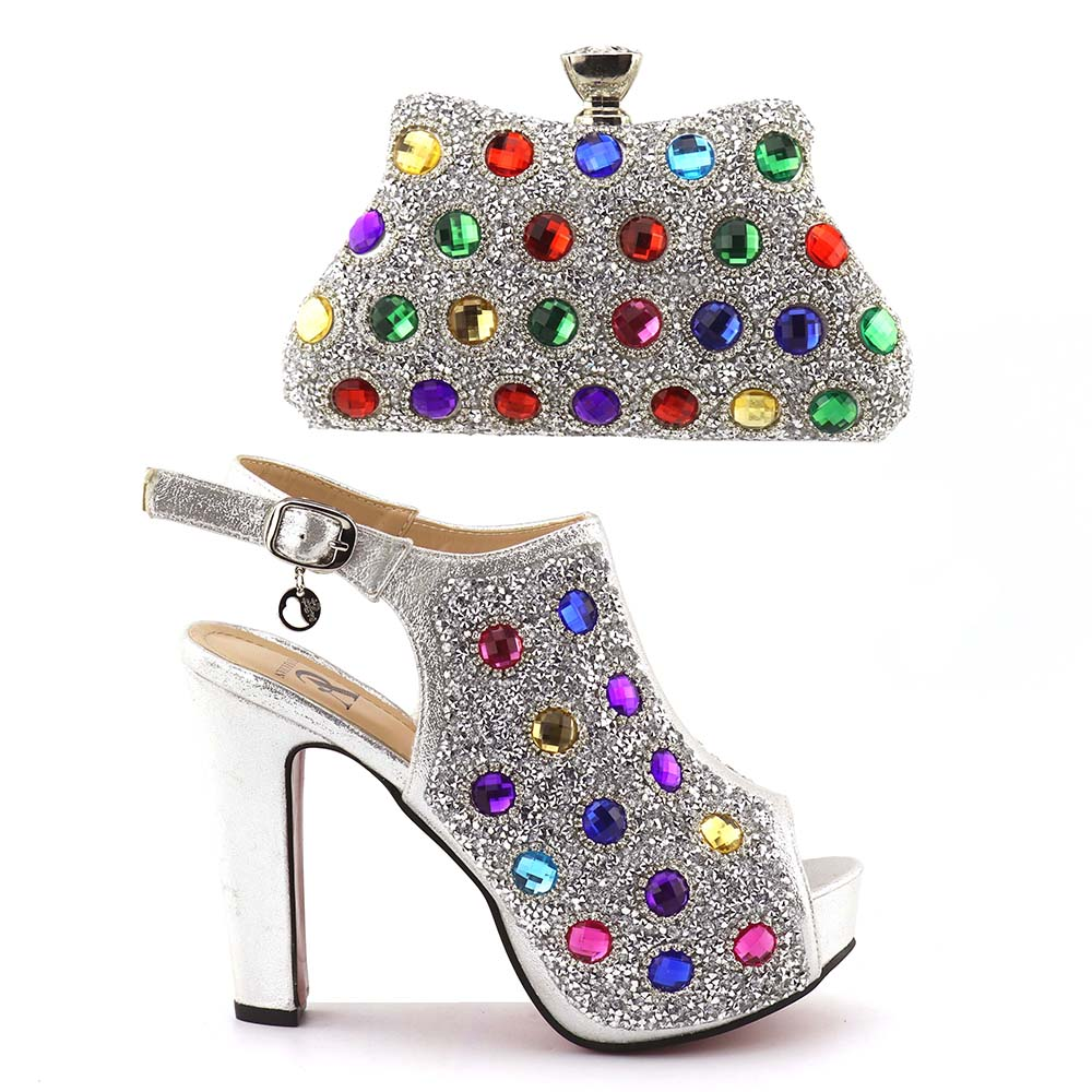 Sinya for Italian style set bag Shoes wholesale Women High and party Handmade wedding Big shoes bag Quality stones and rnPrqafwv