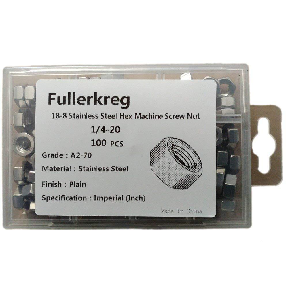 Fullerkreg 1/4-20 Machine Screw Hex Nuts, Stainless Steel 18-8, Bright Finish, Quantity 100