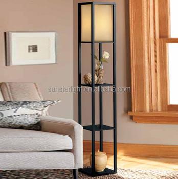 Shelf Wood Custom Floor Lamp With Fabric Shade For Indoor Decoration ...