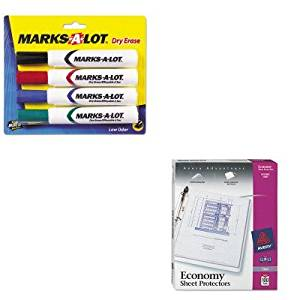 KITAVE24409AVE75091 - Value Kit - Avery Top-Load Poly Three-Hole Sheet Protectors (AVE75091) and Marks-a-lot Desk Style Dry Erase Markers (AVE24409)