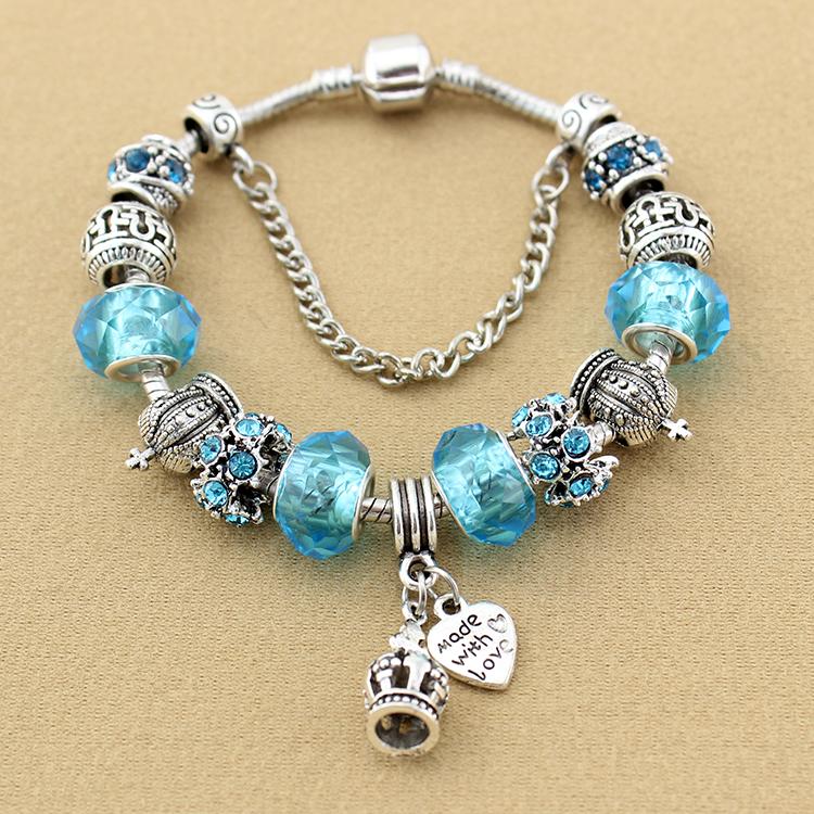 Crown Charm Bracelet: Hot Sale 925 Silver Crown Charm Bracelet For Women Fashion