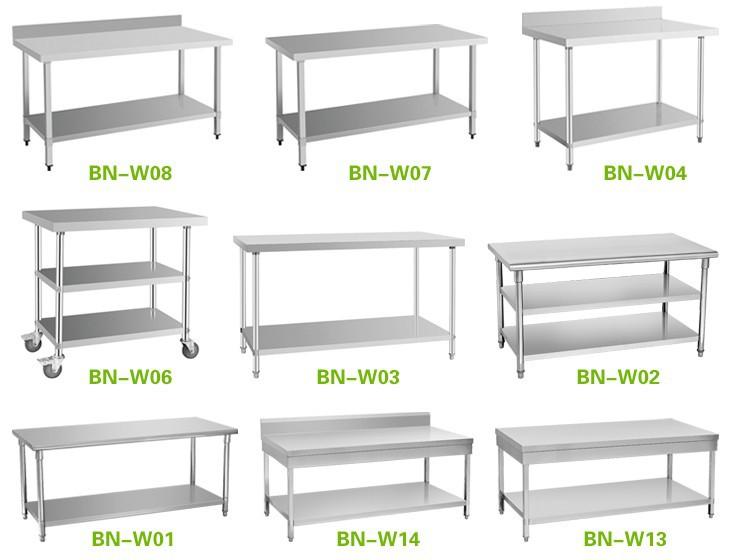 commercial hot sale hotel retaurant kitchen equipment stainless steel work benchprep work table bench