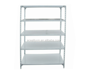 Multi-purpose Powder-Coated angle steel panel goods shelf with stainless steel post
