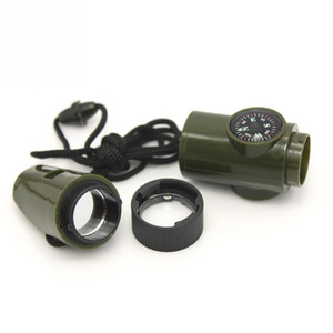 2018 Custom Plastic Survival 7 Function LED Flashlight Magnifying Glass Compass Mini Whistle