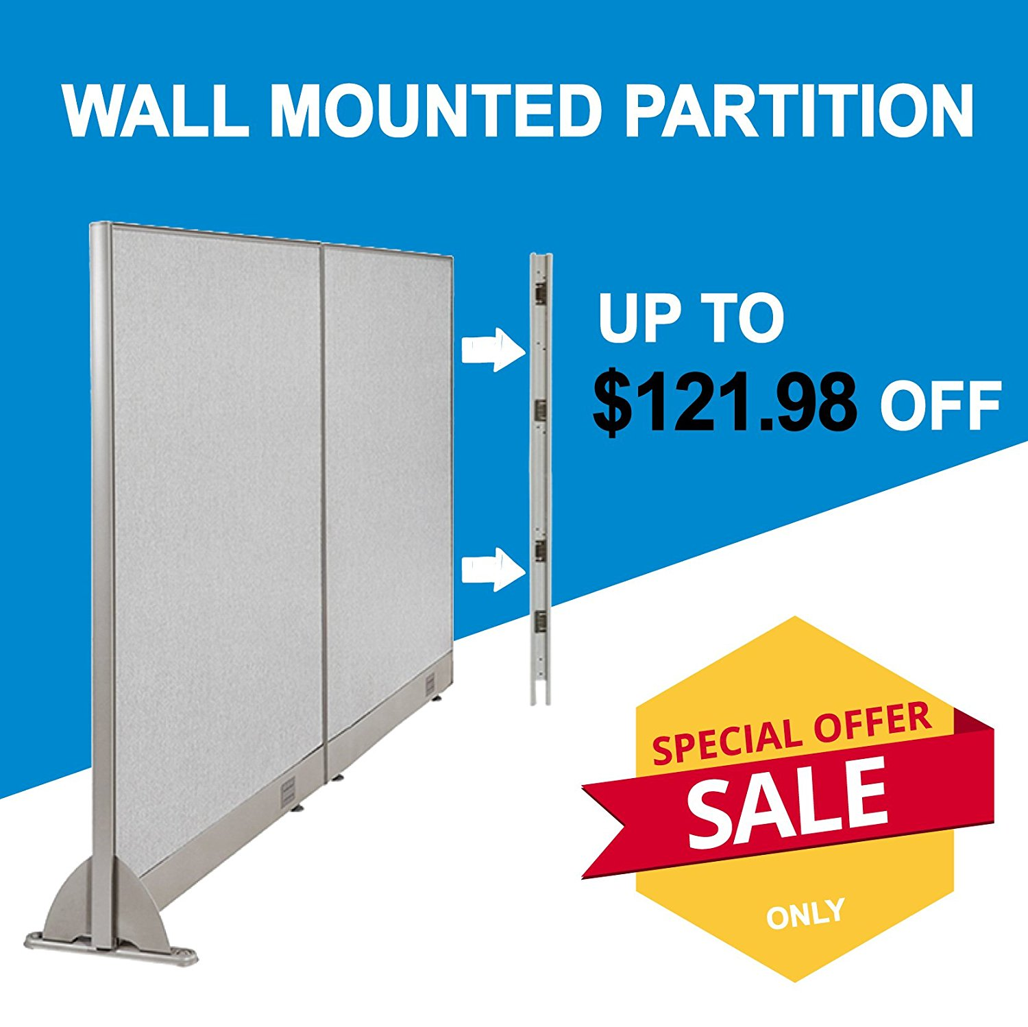 [Christmas Special] GOF Office Freestanding Partition Room divider Wall divider Wall panel Office Wall (Wallmounted 96w x 72h)
