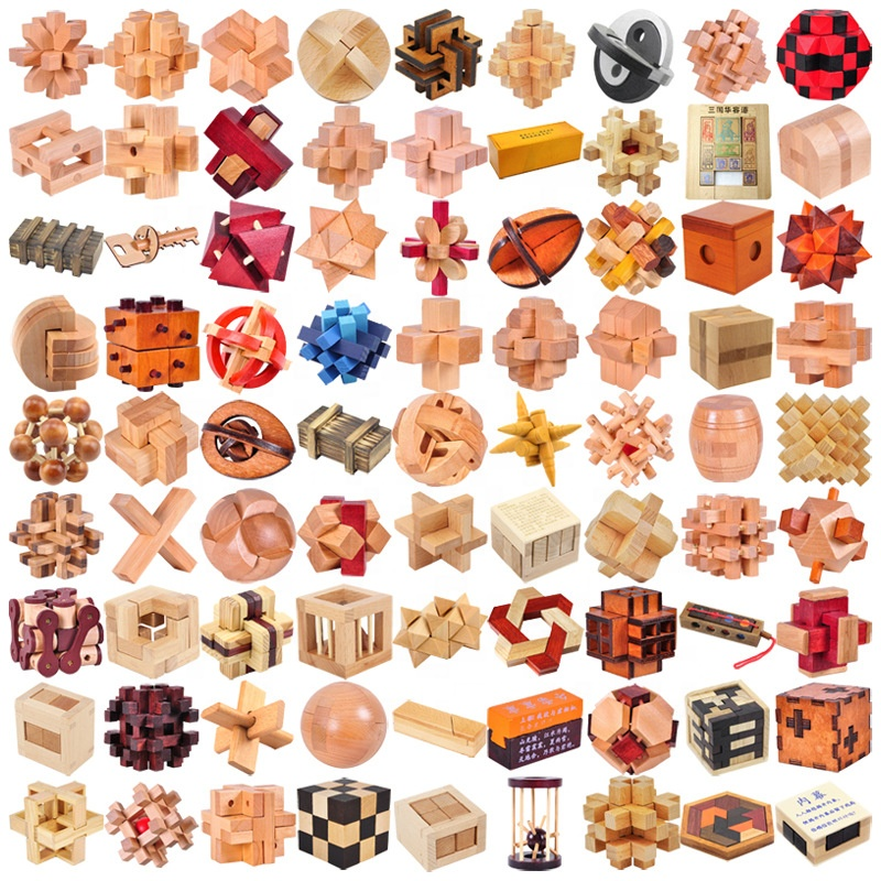 All kinds magic puzzle cube Brain Teaser Wood Toy 3d wooden puzzle