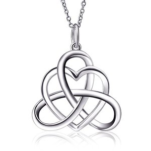 S 925 silver Good Luck pendant white gold Triangle Celtic Knot Heart Vintage Pendant