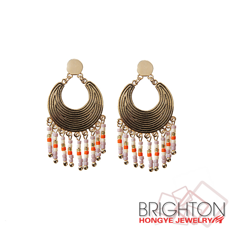 Fashion Ethnic Simple Dainty Indian Beaded Hoop Earrings E1-37224-1030