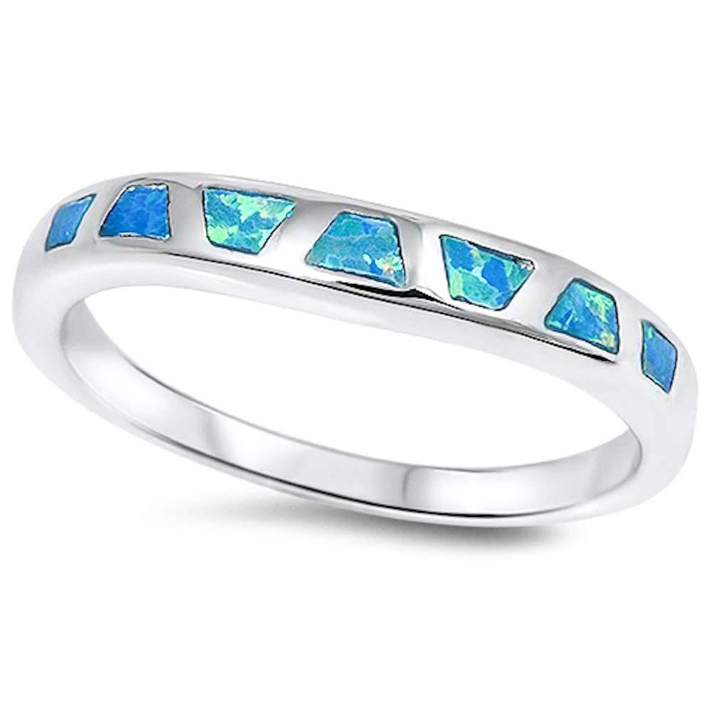 Lab Created Blue Opal Fashion Band .925 Sterling Silver Ring Sizes 5-10