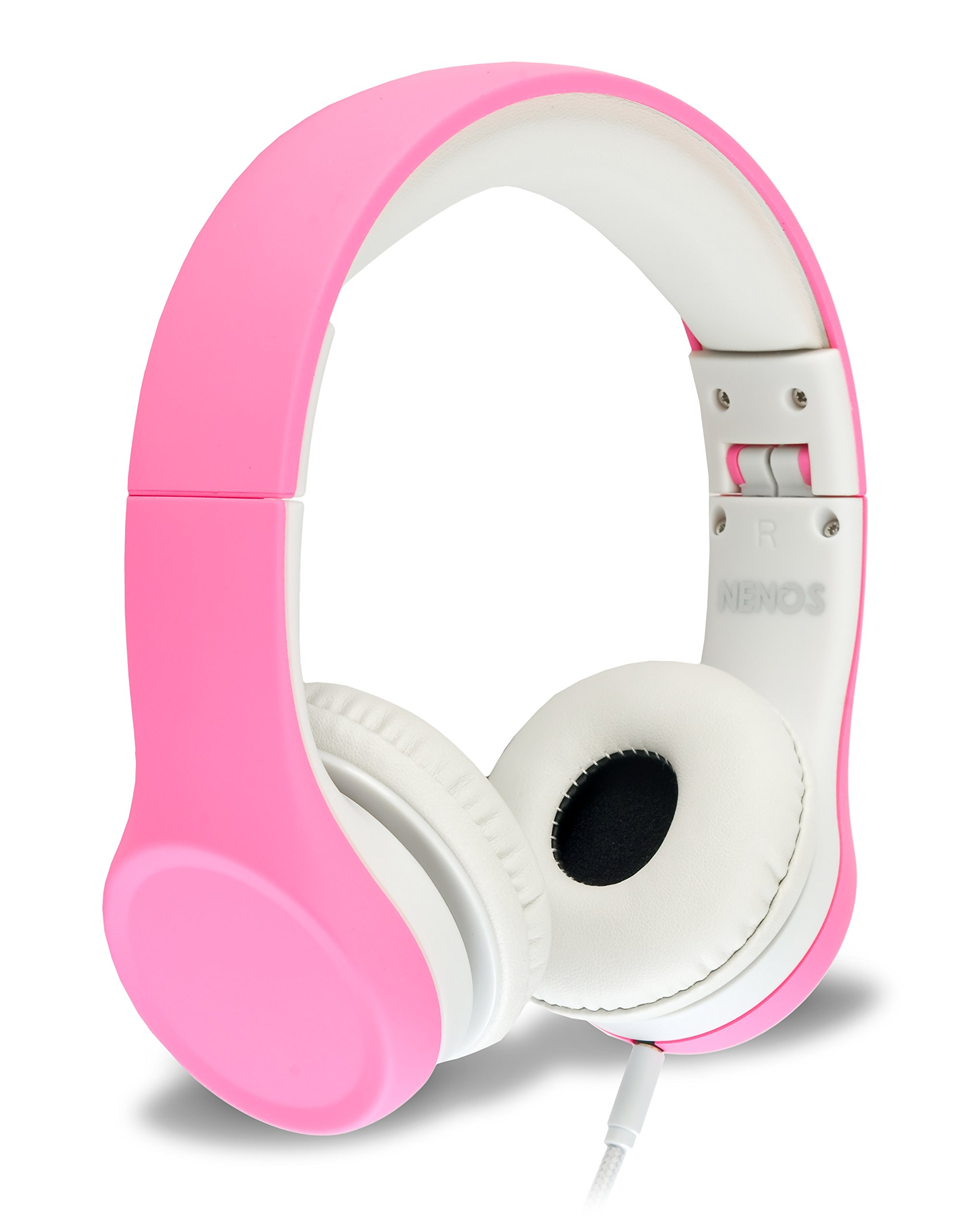 Nenos Children Headphones Kids Headphones Children's Headphones Volume Limited Headphones for Kids Foldable (Pink)