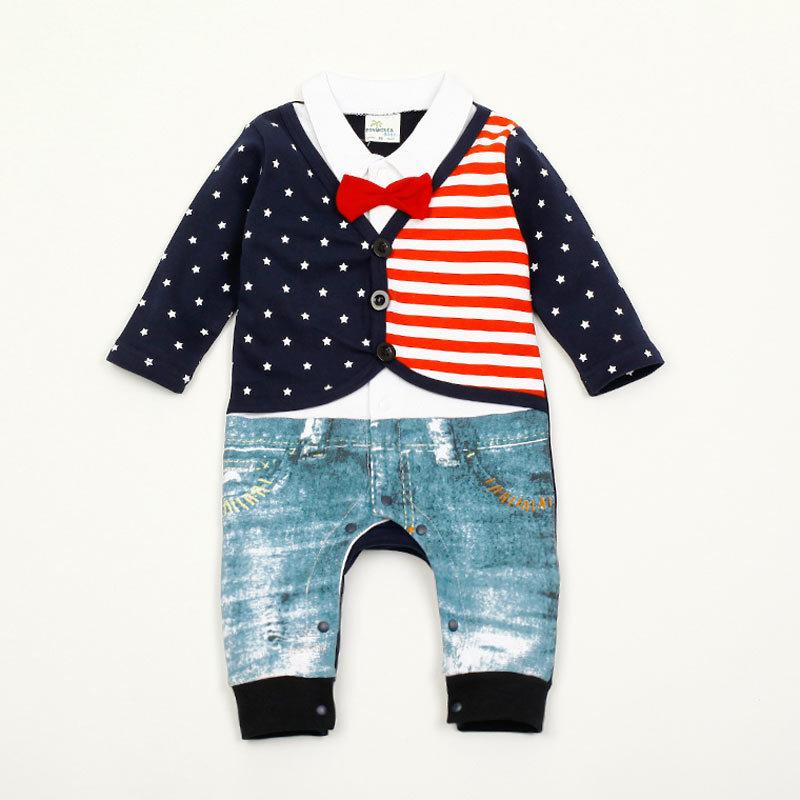 ZOEREA Baby Boy Stripe Suits Bow-Tie Short Sleeve Shirt Infant Jumpsuits Label 95//12-18 Months