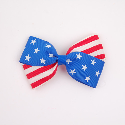 Factory directly sale America flag bow tie clips wholesale girl's hairpins