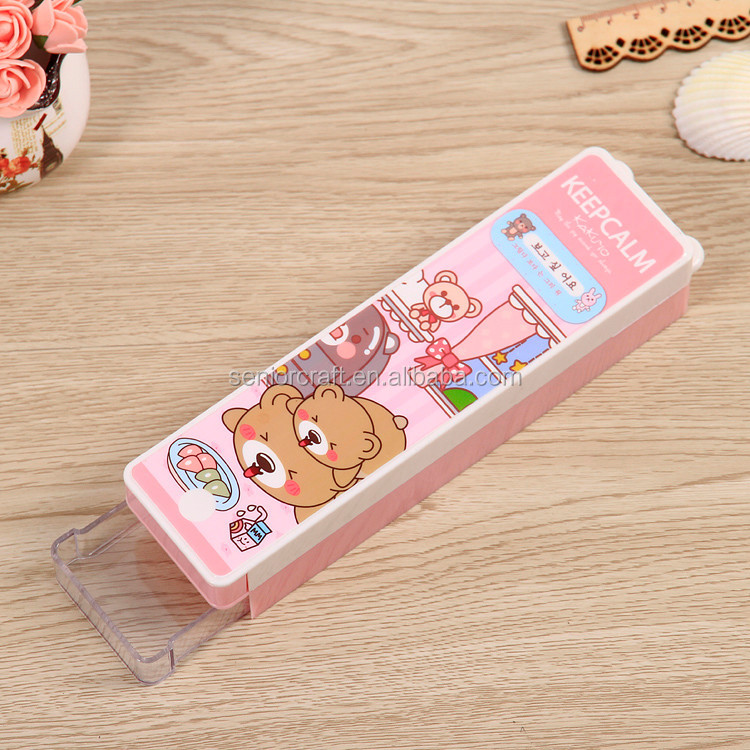 kids stationery double layer custom hard plastic pencil box with Drawer style for school