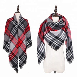 Hot Selling Multi Color Plaid High Quality Custom Women Winter Knitted Wild Square Cashmere Scarf