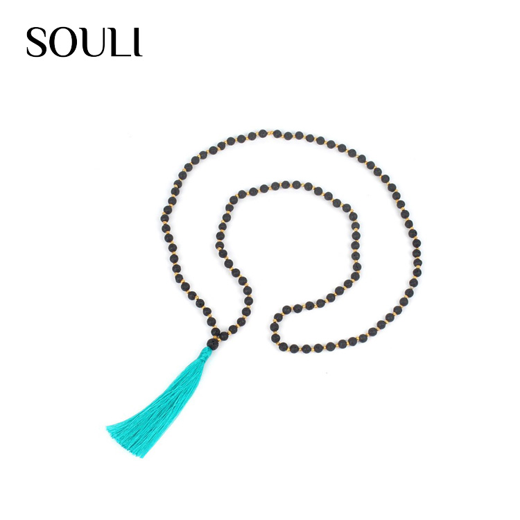 Tasteful boho jewelry lava stone alloy isolation beaded nylon line tassel necklace