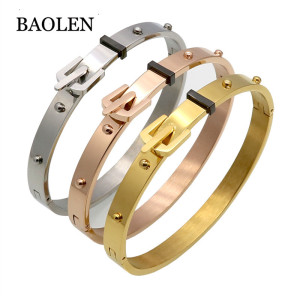 Punk Women Jewelry Smooth Simply Girl Spike Bangle Bracelet Gold Stainless Steel Clasps Belt Buckle Bracelets