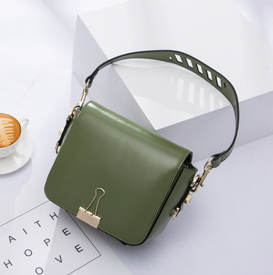 Spring Summer Popular Brand Design Small Wide Stripe Shoulder Bags Korean Style Girl Casual High Quality Cowhide Crossbody Bag