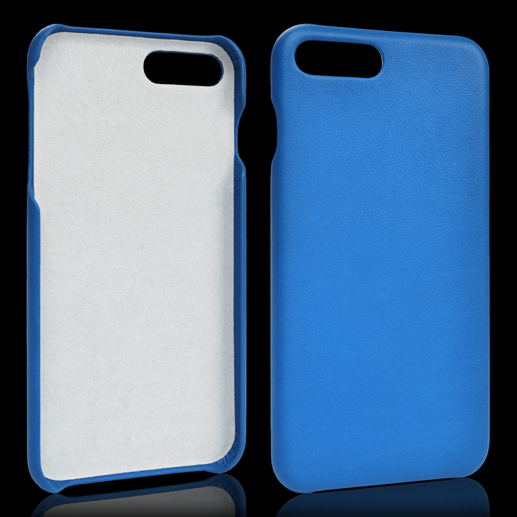 Blue back cover real leather case for iphone 7 plus