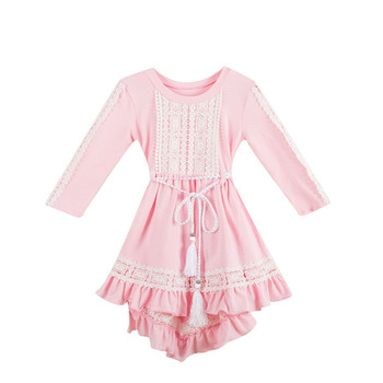 Hot sale frock designs dress baby boutique clothing high-low dress for baby girls