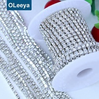 OLeeya Factory Wholesale 1Row Dense Mat Crystal Chain Trimming Close Rhinestone Trim For Bridal