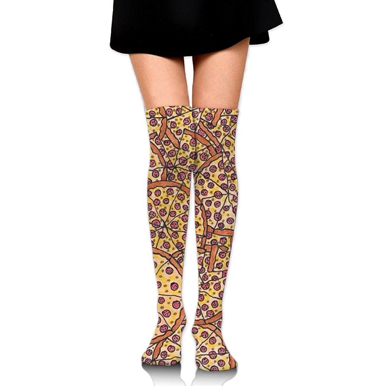Zaqxsw Pizza Food Women Vintage Thigh High Socks Over The Knee Socks For Womens