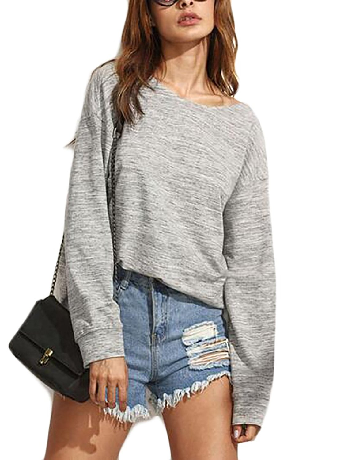 93d28ca81a6 Get Quotations · WSPLYSPJY Women Cut Out Loose Pullover Criss Cross Top Tee  Blouse