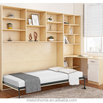 Wood Color Pull Out Beds For Small Es Smart Home Single Murphy Bed Hidden Wall