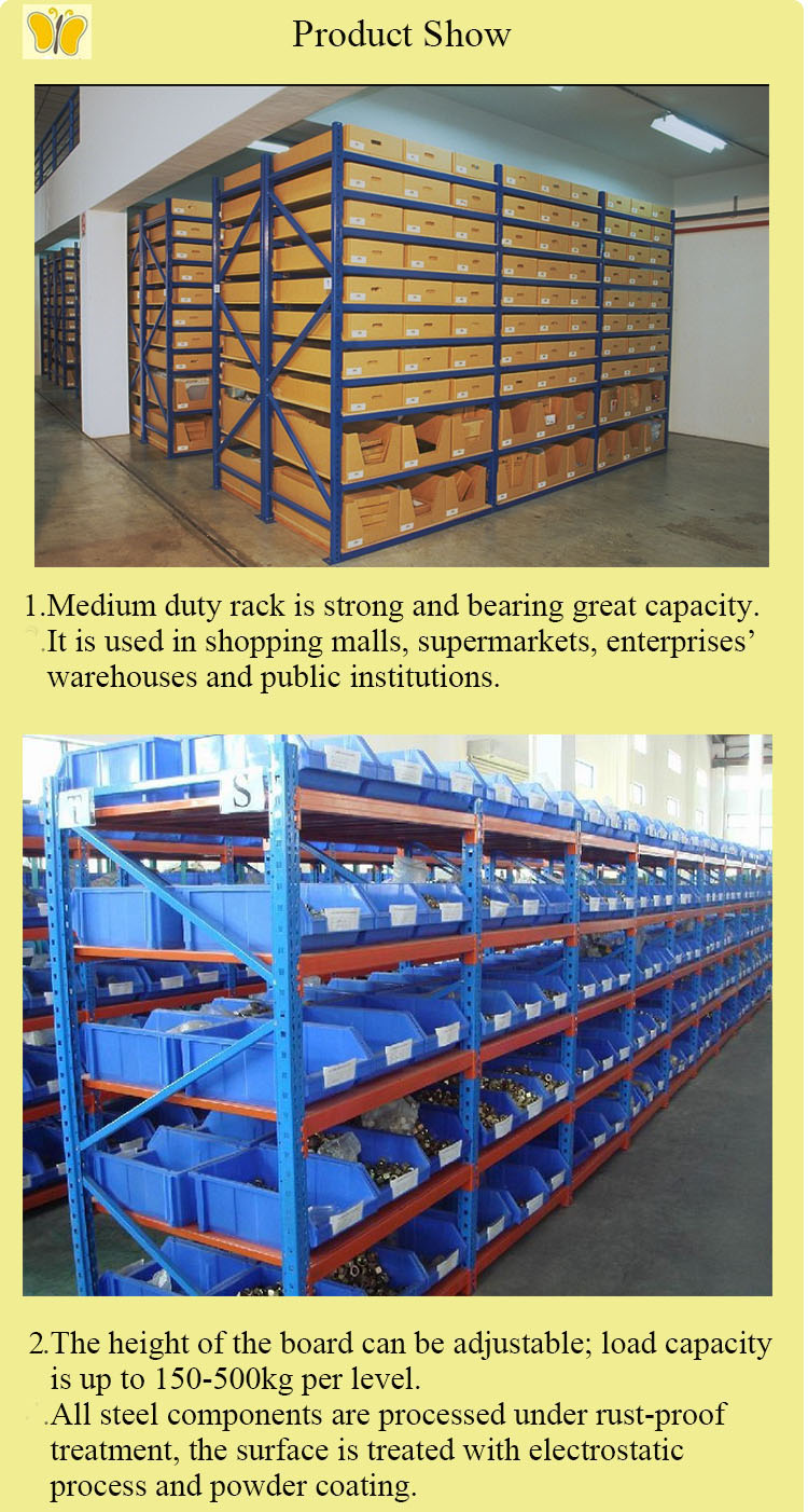 Durable Detachable Long Span Medium Duty Storage Rack System and Metal Storage Shelf