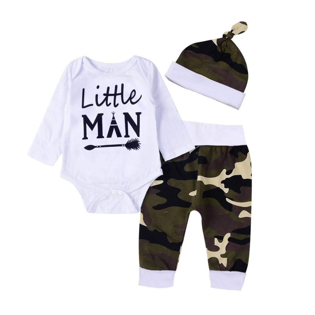 Toddler Camouflage Sets,Jchen(TM) Newborn Infant Baby Boys Letter Little Man Print Romper Jumpsuit Camouflage Pants Hats Outfits for 0-18 Months Little Boys (Age: 12-18 Months)