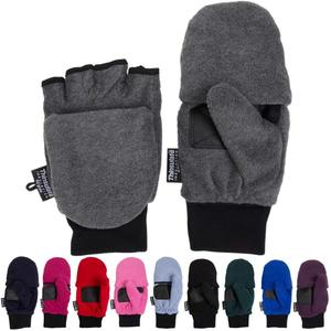 3M thinsulate lined Polyester Polar fleece flip pop top fingerless Mitten glove