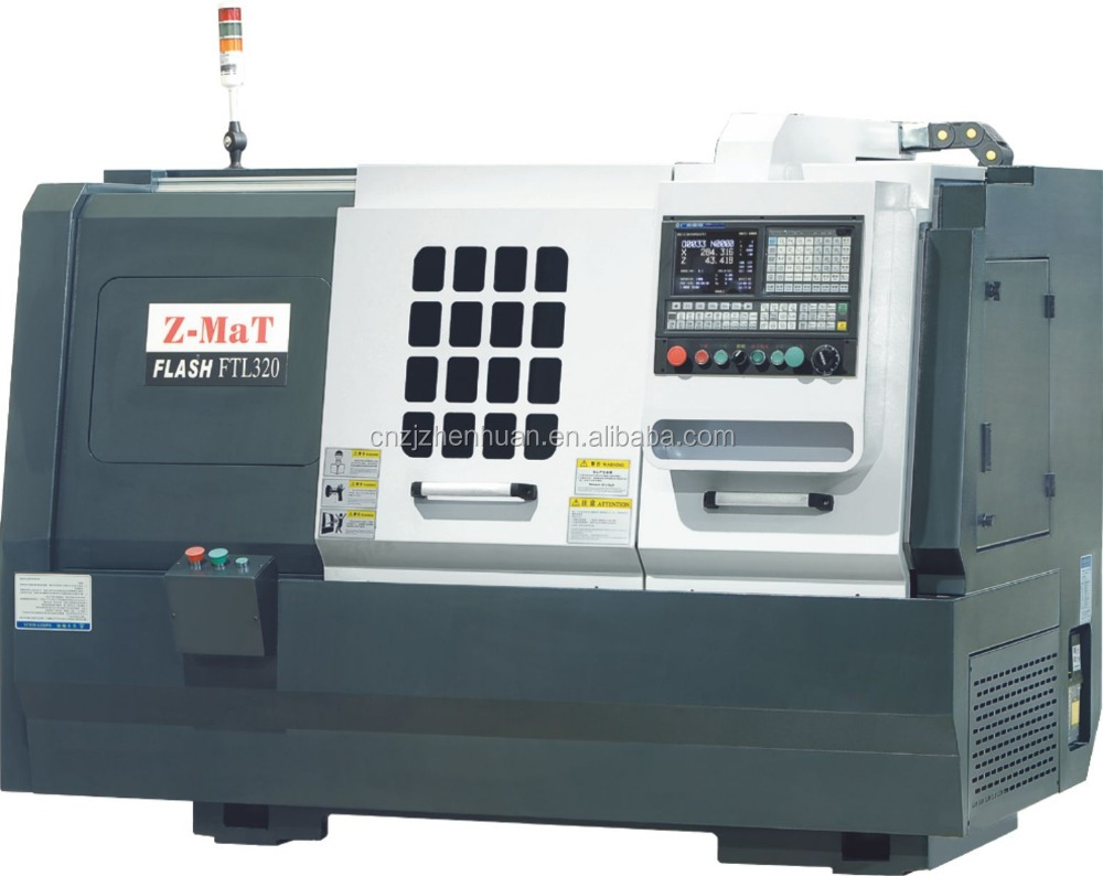 "Hot sale !!! FTL320 6"" chuck flat bed z axis hard rail x axis linear rail 8 station turret cnc turning lathe with tailstock"