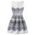 Latest hot selling women jacquard dresses patterns print vintage sleeveless party mini dresses