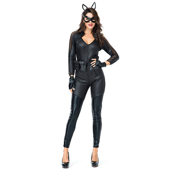 Sexy Black PVC Leather Jumpsuit Catwoman cosplay Costume For Women