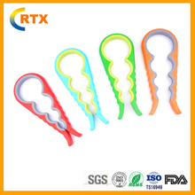 Multipurpose Kitchen Tool Custom Silicone Twist Jar Bottle Corkscrew Can Opener cap Lifter for multiple Size caps