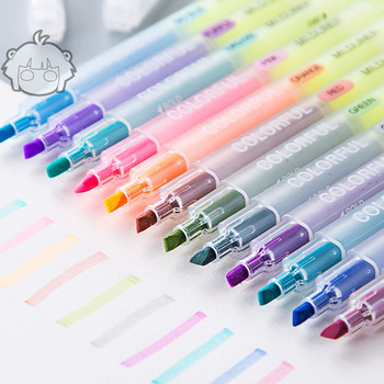 chinese kawaii stationery products wholesale aritist plastic rainbow 12 colors fluorescent gel pen marker highlighter