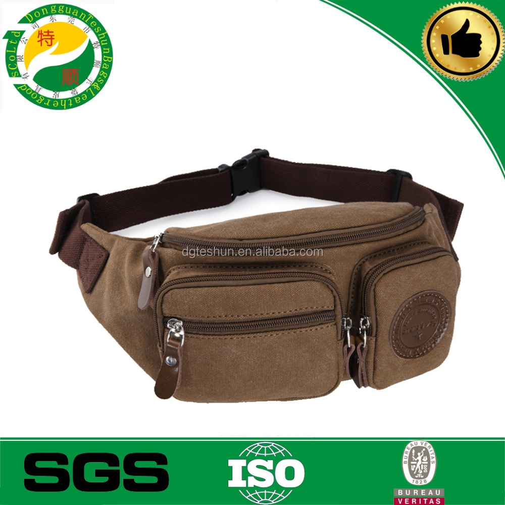 Multi-function Canvas waist pouch with leather emboss logo /waist belt bag/Cycling and clibing bag,outdoor sports waist bag