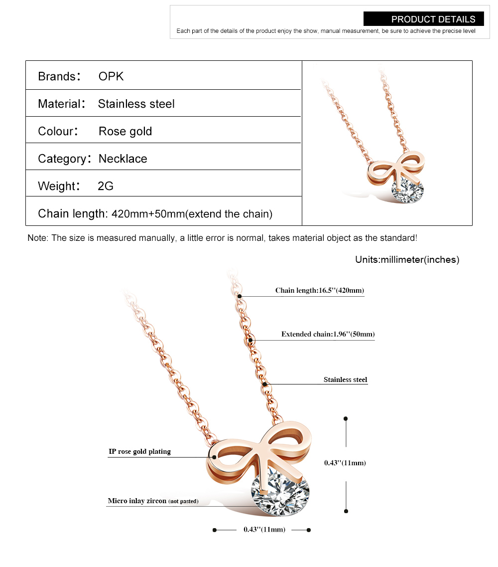 Trending Products Fashion Women Jewelry Zircon Stainless Steel Knot Pendant